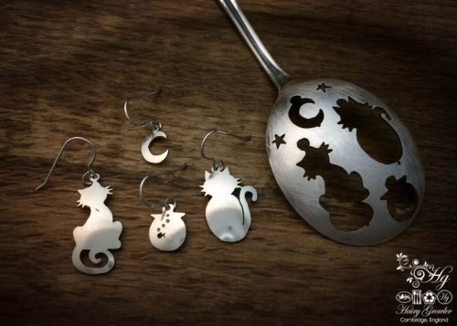 handmade and upcycled spoon cat and fish bowl earrings