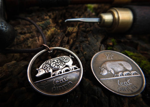 Hand cut coin jewellery - Irish half penny sow and piglets recycled