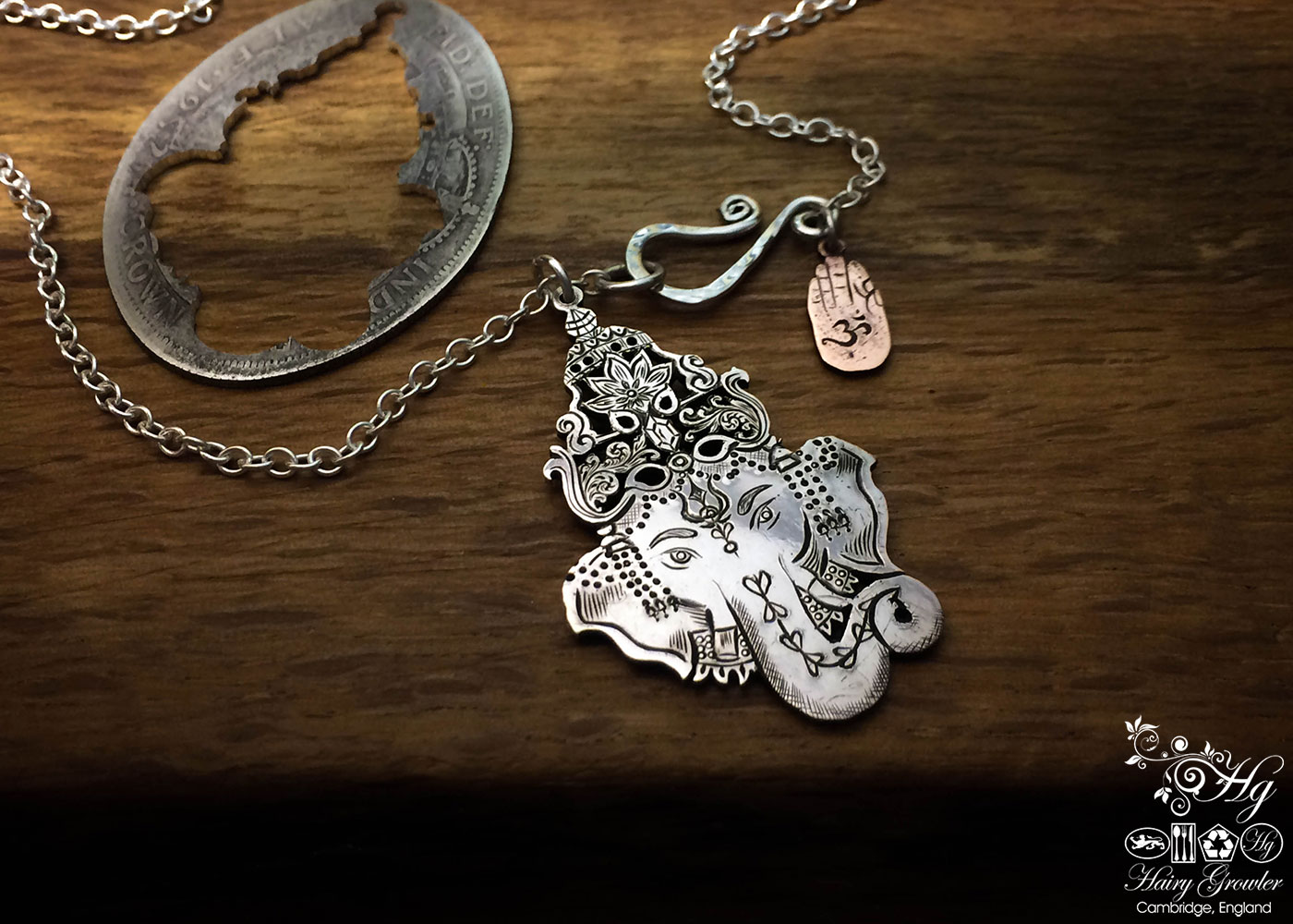 Ganesha silver pendant - handmade and recycled using silver coins