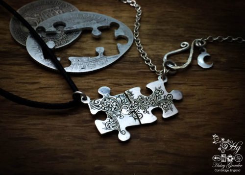 Handmade and upcycled jigsaw pieces necklace silver coin