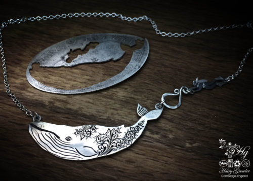 Handmade and repurposed sterling silver half crown coin leviathan whale necklace