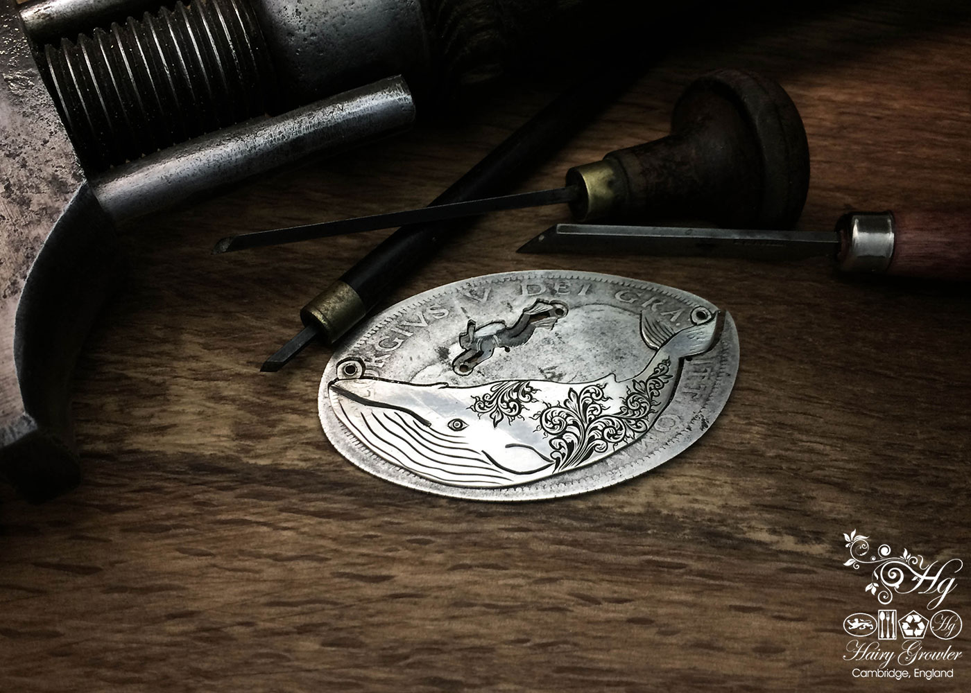 Handcrafted and upcycled sterling silver half crown coin leviathan whale necklace