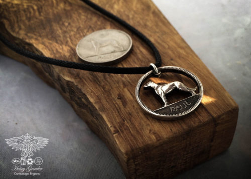 Handmade and carved Irish wolfhound sixpence coin pendant