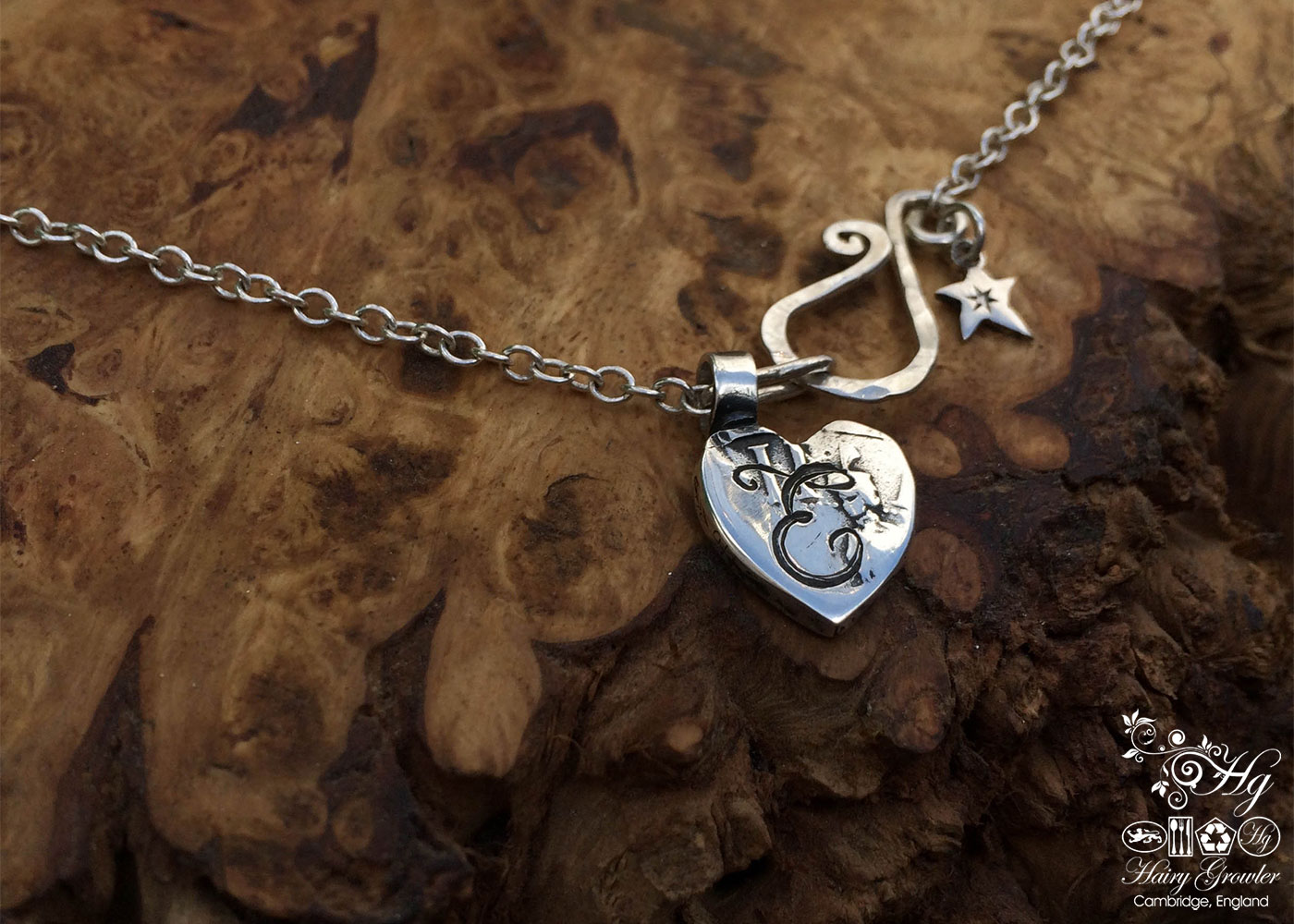 handmade silver heart charm for a tree sculpture, necklace or bracelet