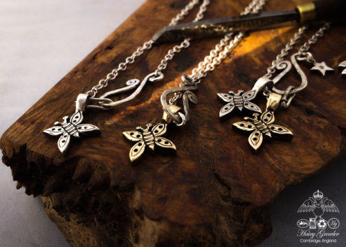 handcrafted bronze and silver butterfly charms for a tree sculpture, necklace or bracelet