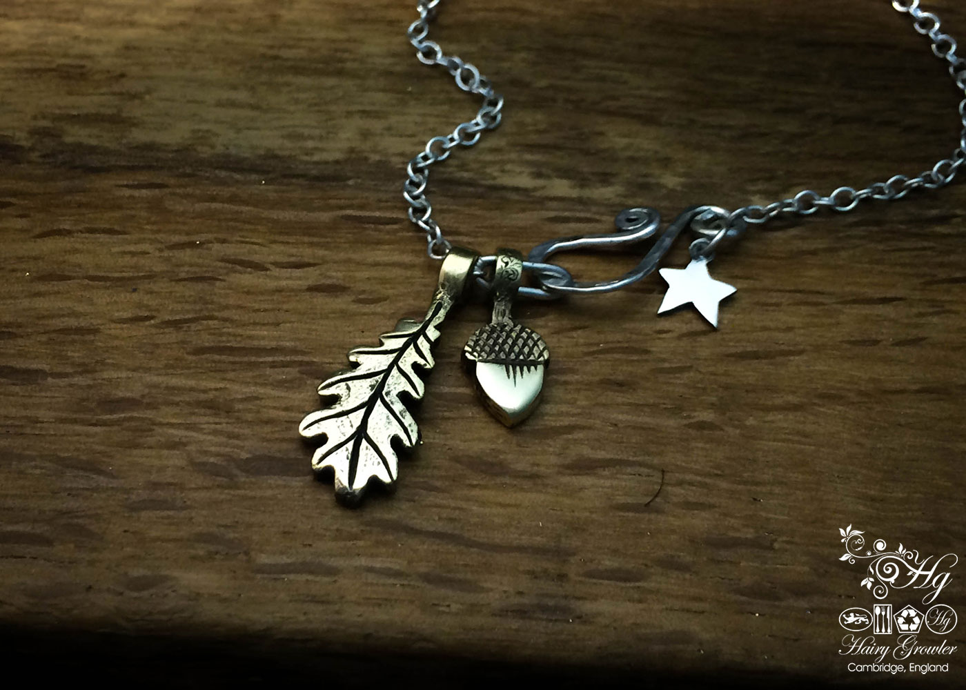 handcrafted silver oak leaf charm for a tree sculpture, necklace or bracelet