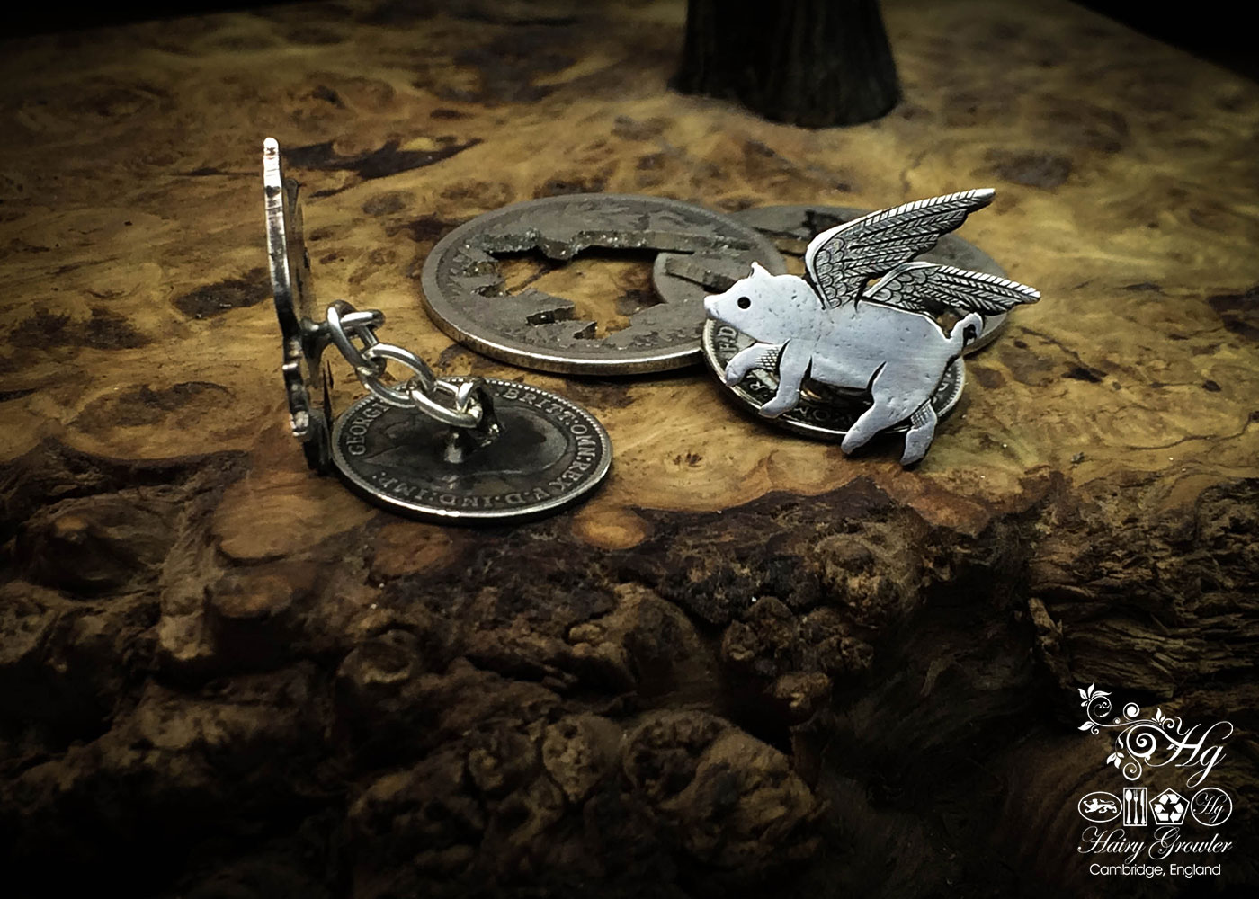 Flying pig cufflinks handcrafted and recycled from sterling silver shillings and threepence coins