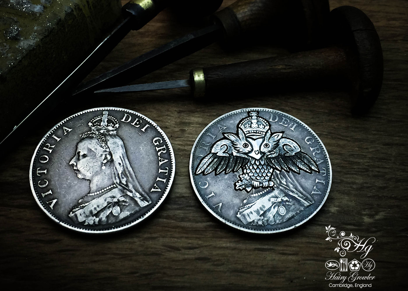 handmade and recycled silver coins hare-y-gr-owl-er charm for a tree sculpture, necklace or bracelet