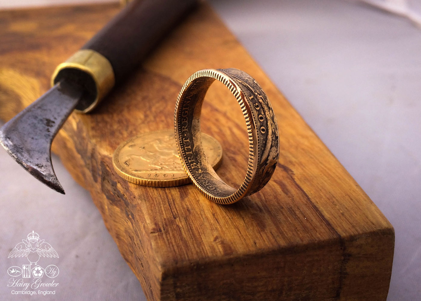 Handcrafted and recycled 22ct gold coin wedding rings