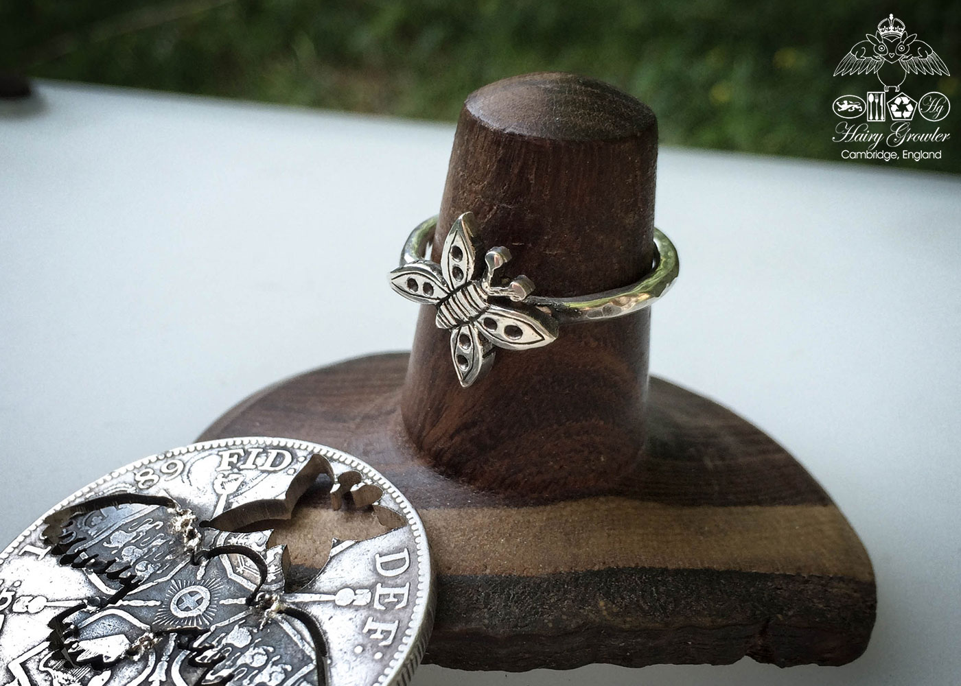 handcrafted and recycled silver butterfly stacking rings