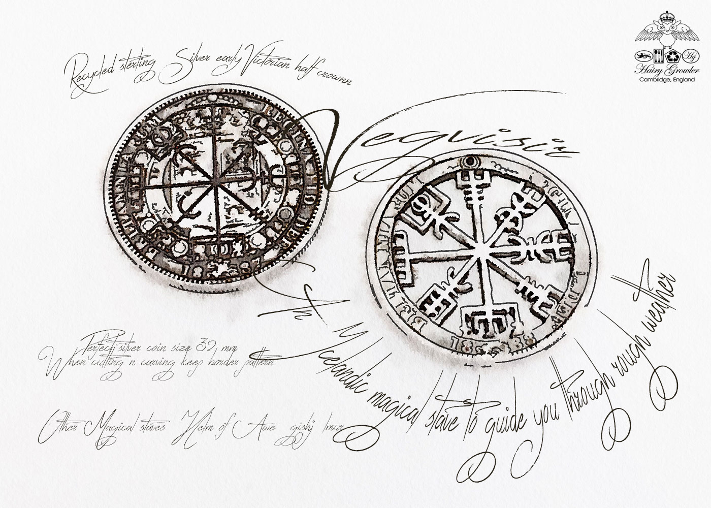 Handmade and upcycled silver half crown Vegvísir magical Icelandic stave necklace