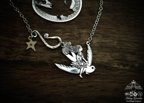 Gorgeous, stylish, eco-friendly, green, ethical and individual. The Hairy Growler silver bird riding girl necklace is meticulously handcrafted in Cambridge, UK.