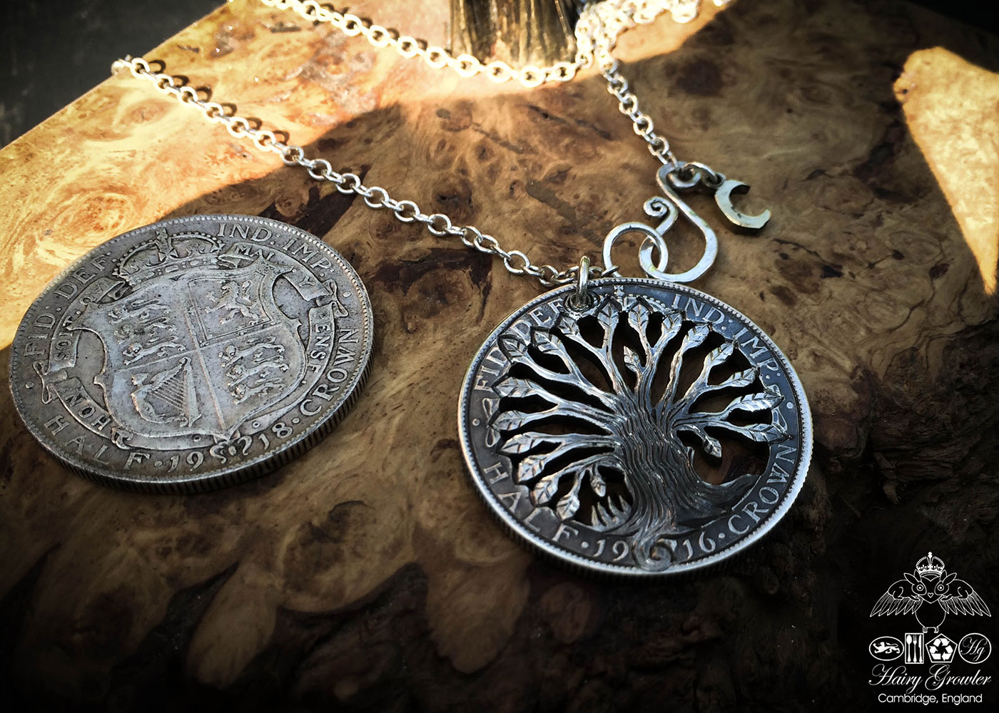 Handmade and upcycled silver half crown tree of life necklace pendant