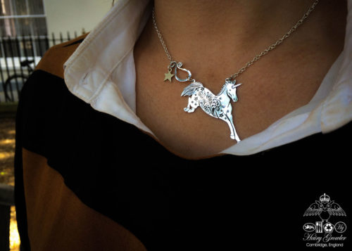 Gorgeous, stylish, eco-friendly, green, ethical and individual. The Hairy Growler silver unicorn necklace is meticulously handcrafted in Cambridge, UK.