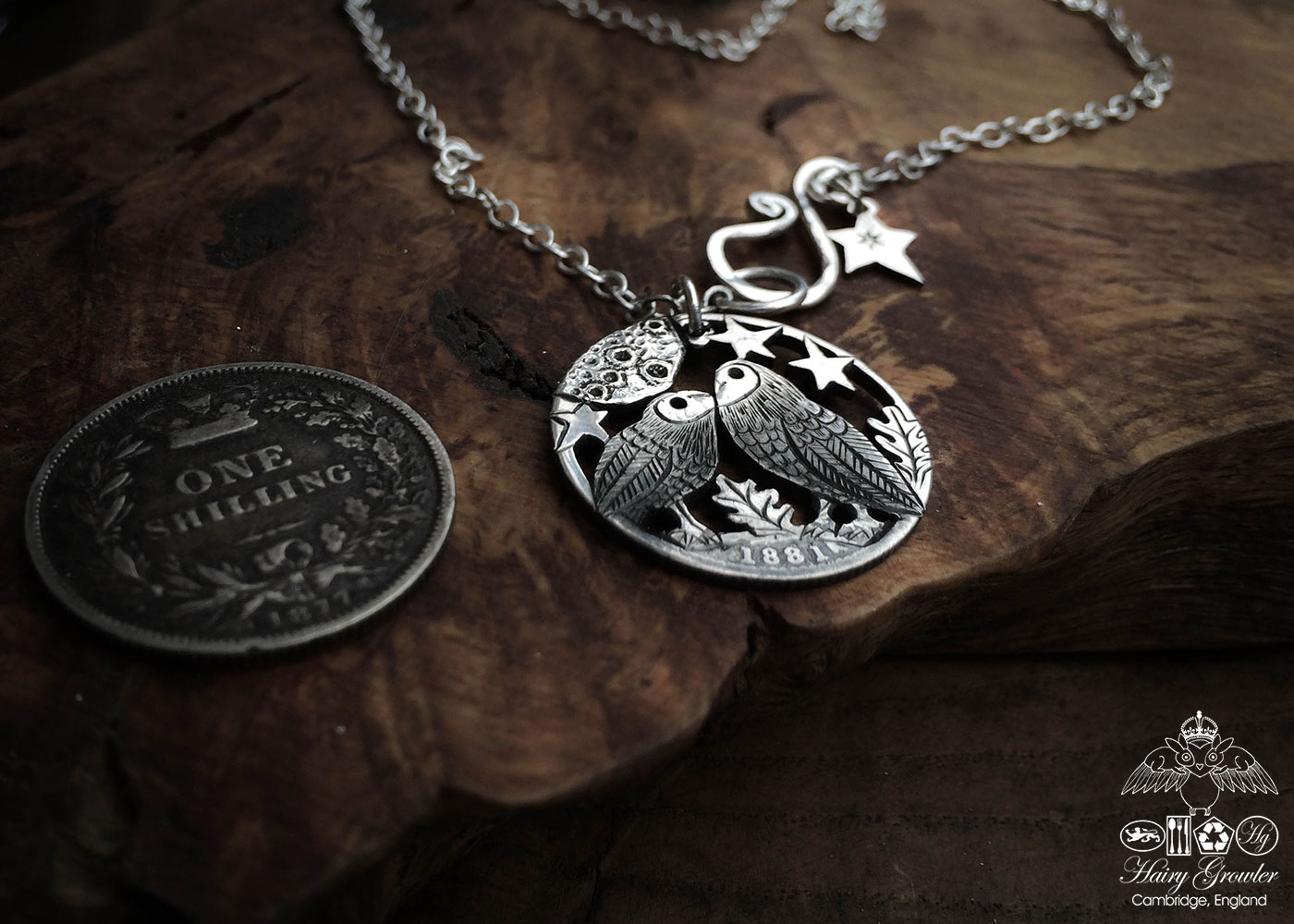 Handmade and upycled silver shilling The Silver Shilling collection. silver kissing owls necklace totally handcrafted and recycled from old sterling silver shilling coins. Designed and created by Hairy Growler Jewellery, Cambridge, UK. necklace