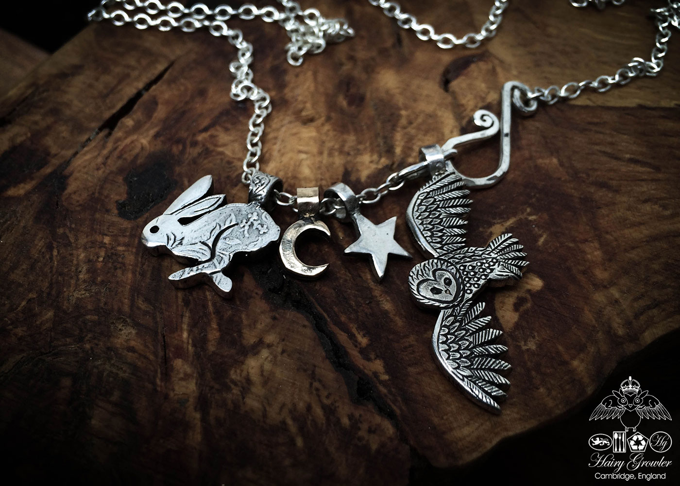 handmade and recycled silver coins running wild hare charm for a tree sculpture, necklace or bracelet
