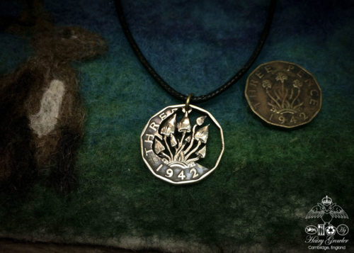 Hand made and repurposed threepence thrupney bit shroomfest shroom coin pendant necklace