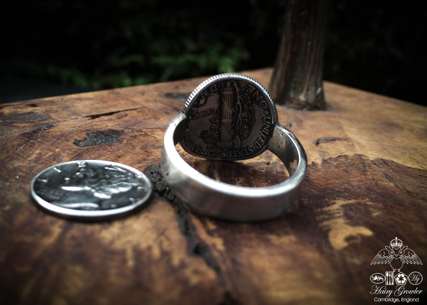 Beautiful inspired silver recycled jewellery mercury dime liberty skull ring made from silver coins
