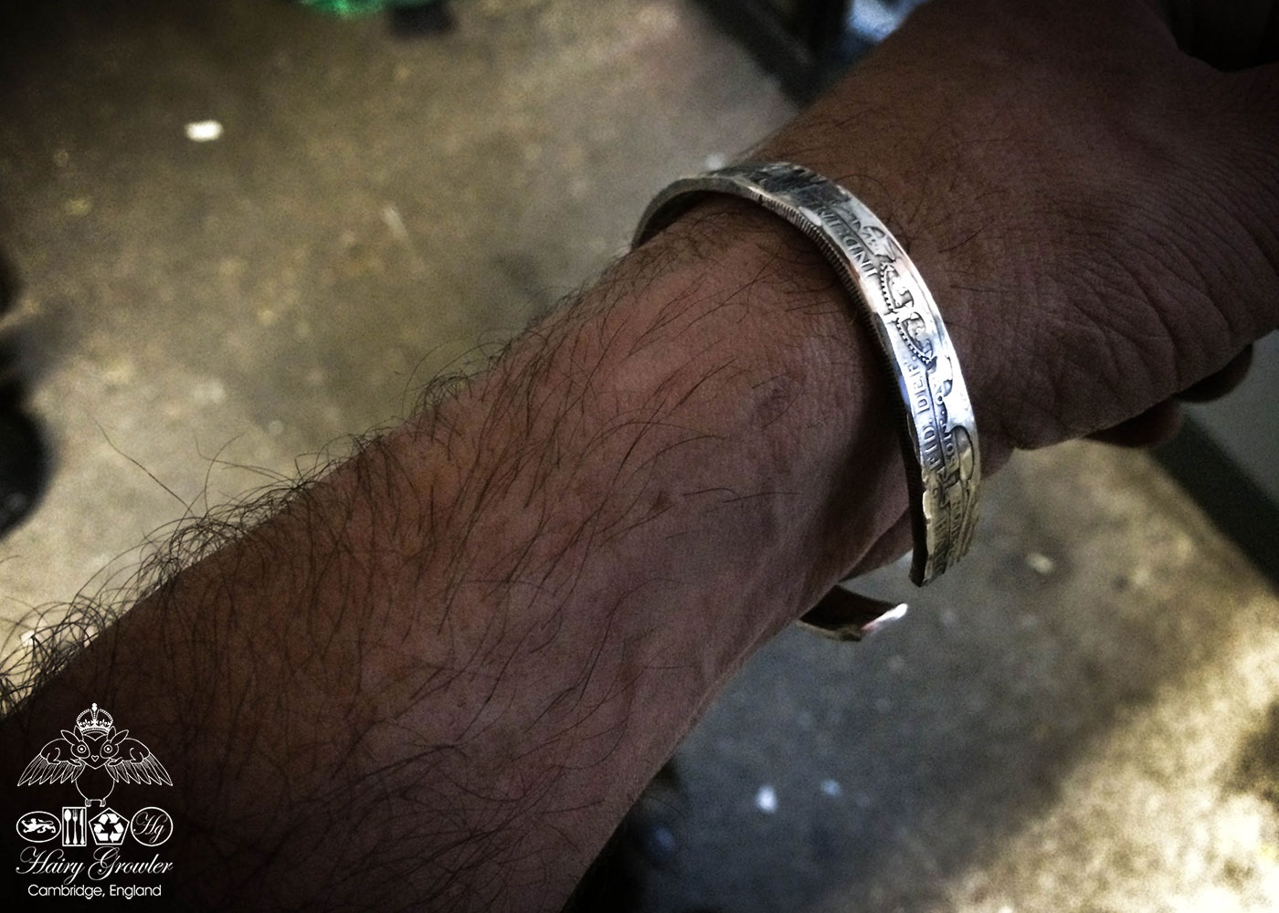 Handcrafted and upcycled silver half crown coin kuff bangle bracelet