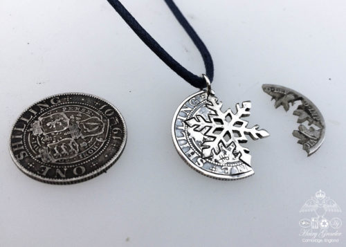 handcrafted and recycled silver shilling snowflake necklace