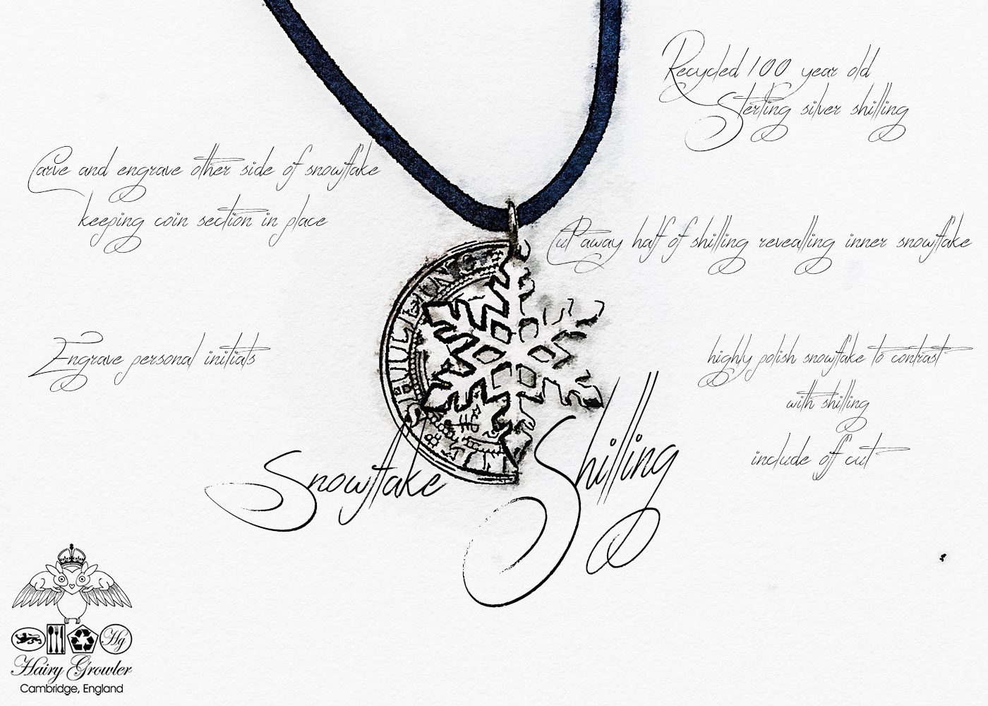 handmade and recycled silver shilling snowflake necklace