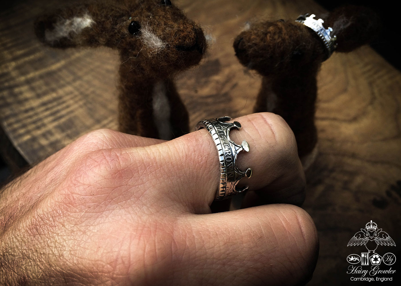Felt brown hare handmade in Gloucestershire with sterling silver crown recycled from a 100 year old silver coin