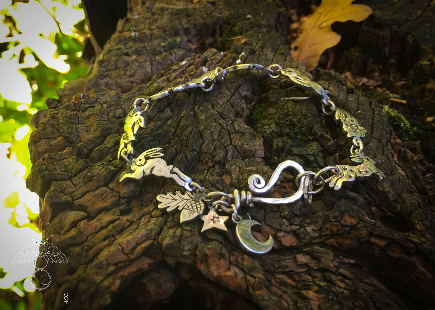 rabbit and hare bracelet individually handmade and recycled from an old Victorian silver coins