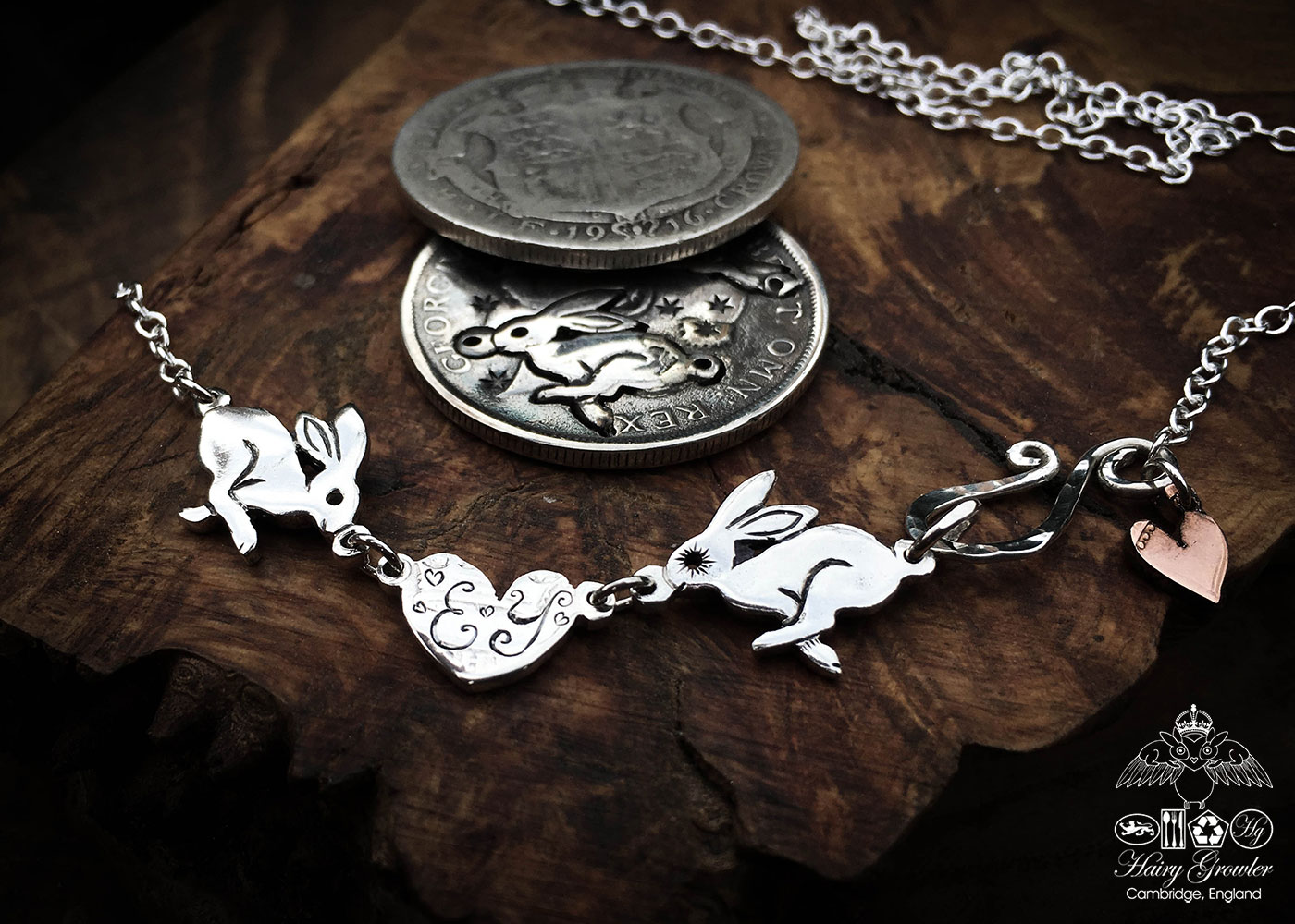 hare necklace individually handmade and recycled from an old Victorian silver coins