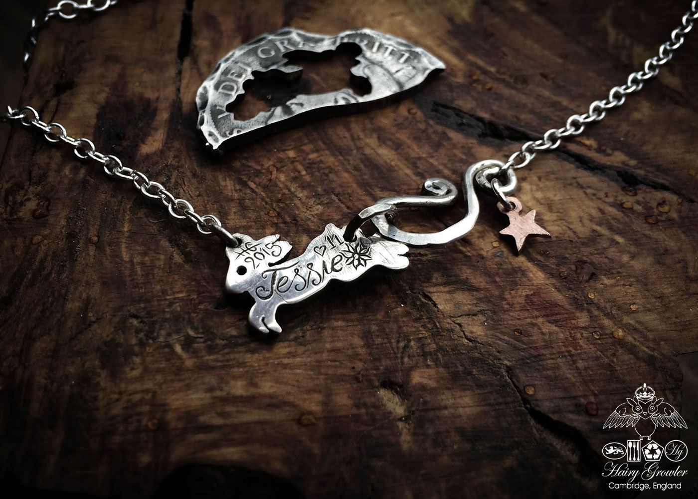 moon rabbit necklace individually handmade and recycled from an old Victorian silver coins
