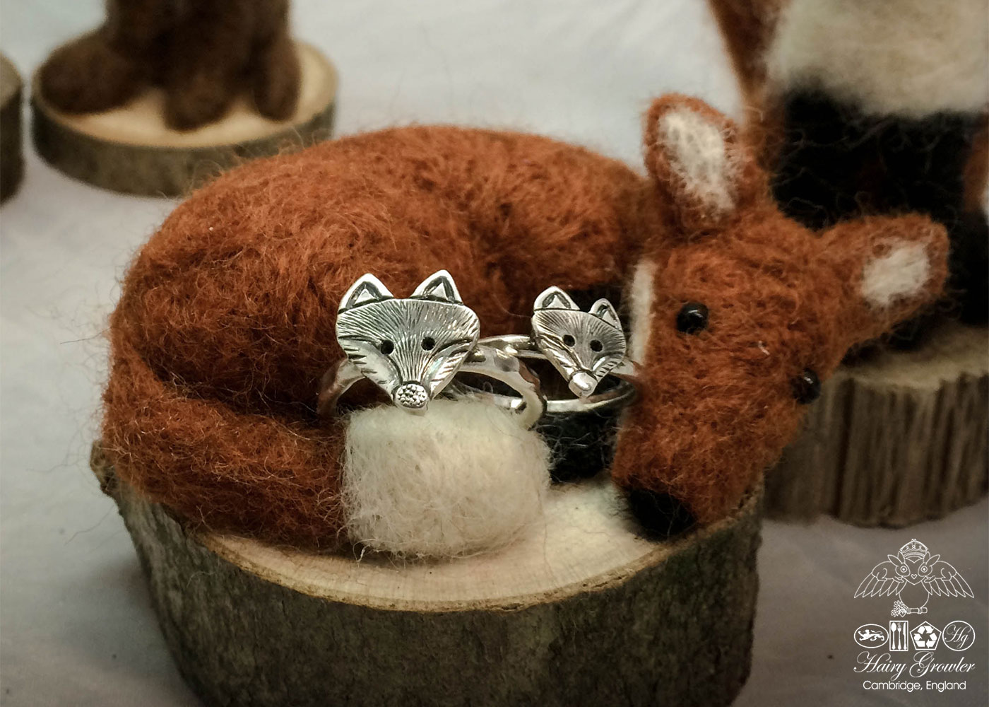 handcrafted and recycled silver fox ring