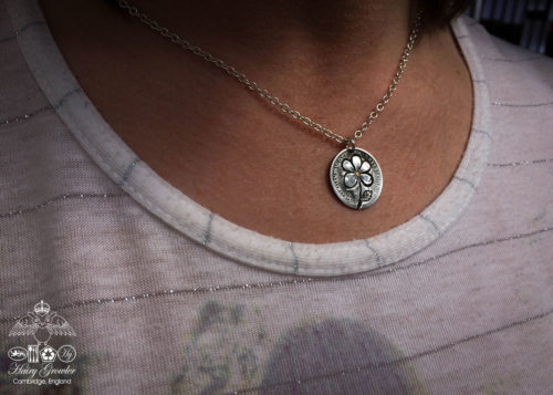 Handmade and repurposed lucky silver sixpence 'Forget me not' coin necklace pendant