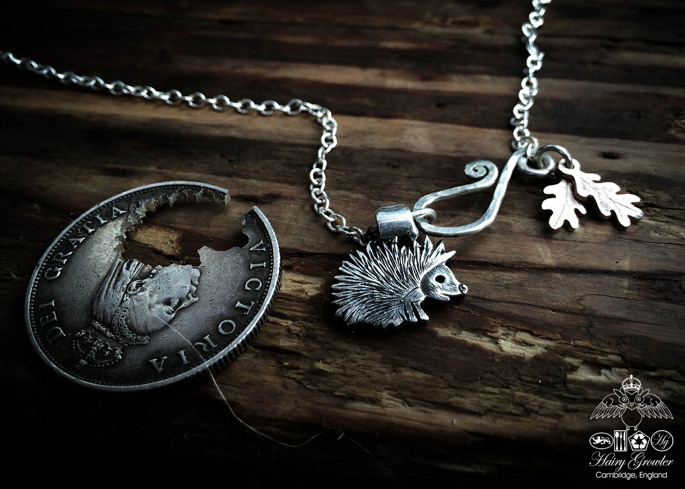 handmade and recycled silver coins hedgehog charm for a tree sculpture, necklace or bracelet