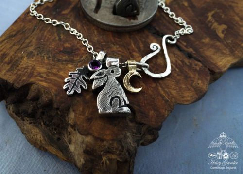 Moon gazing rabbit necklace handmade and recycled silver coins moon gazing hare charm for a tree sculpture, necklace or bracelet