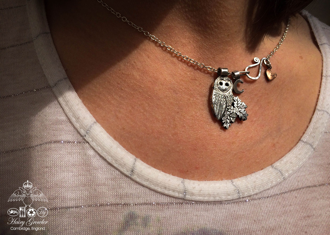 Barn owl necklace handmade and recycled silver coins wise barn owl charm for a tree sculpture or necklace