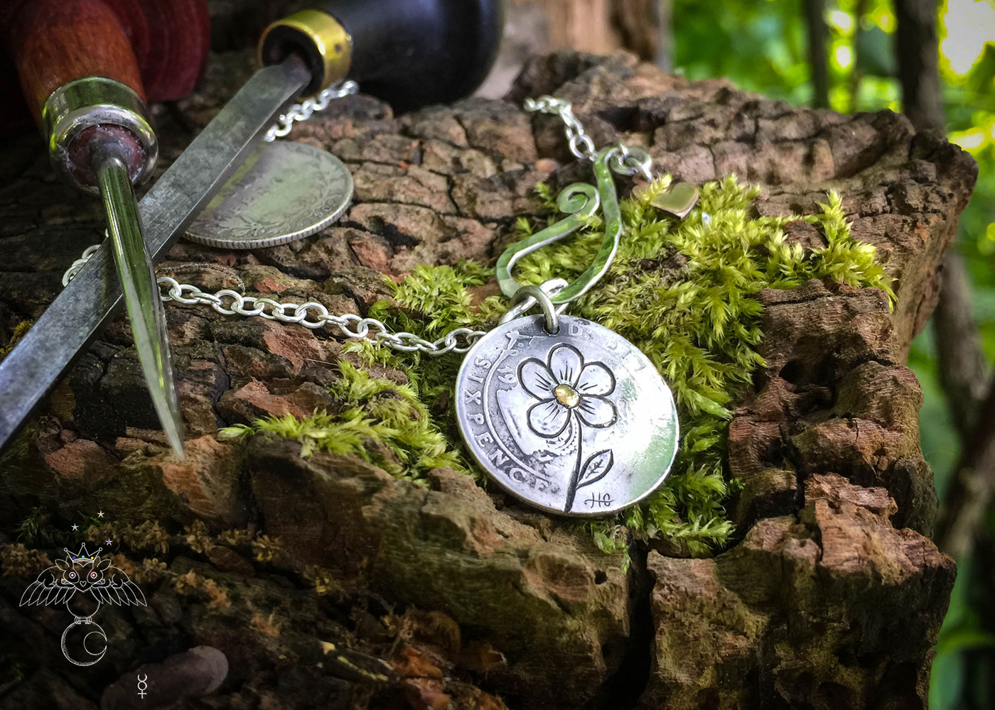 handcrafted and upcycled lucky silver sixpence 'Forget me not' coin necklace pendant