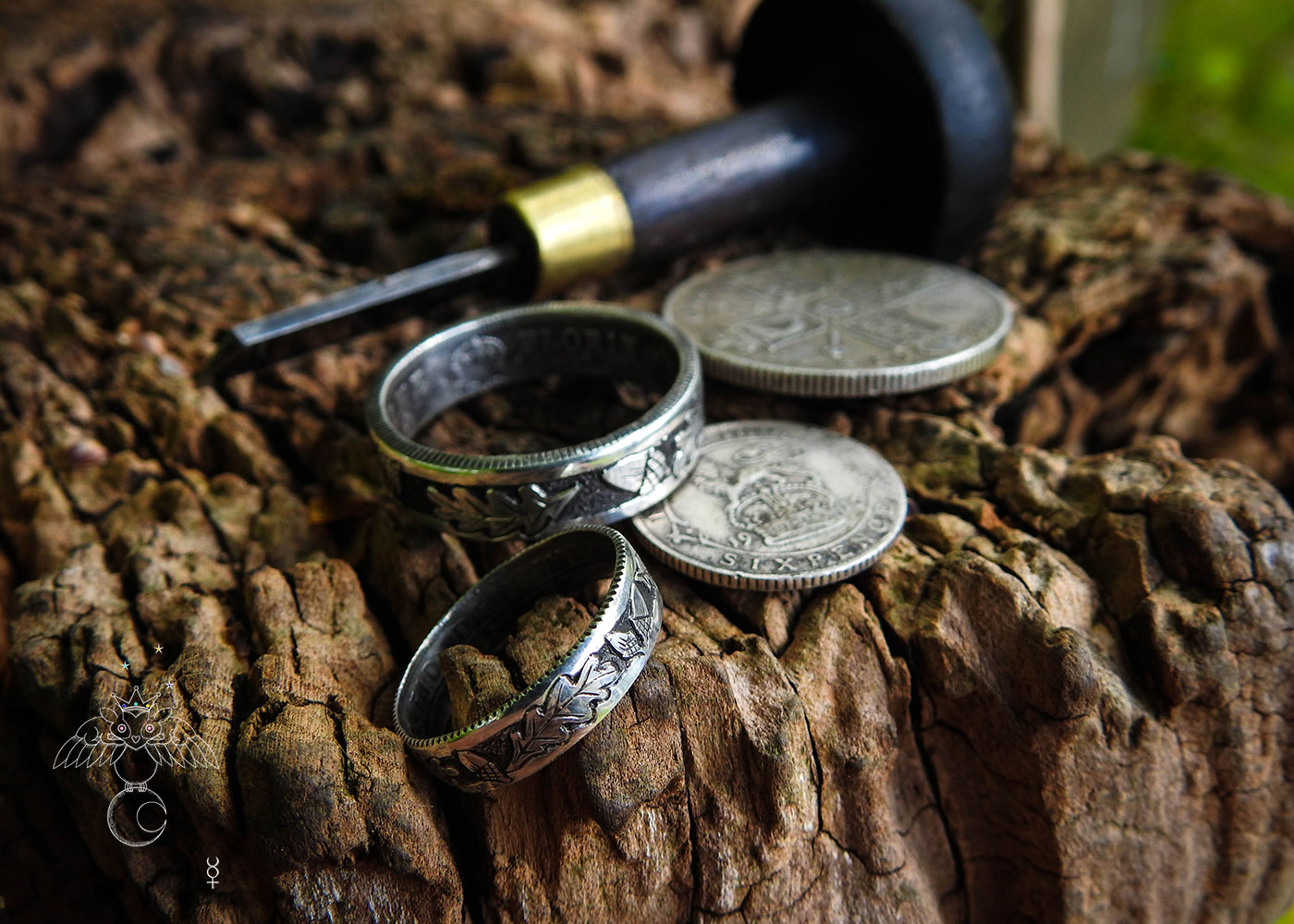 Oak Leaf coin ring - Recycled sterling silver coin
