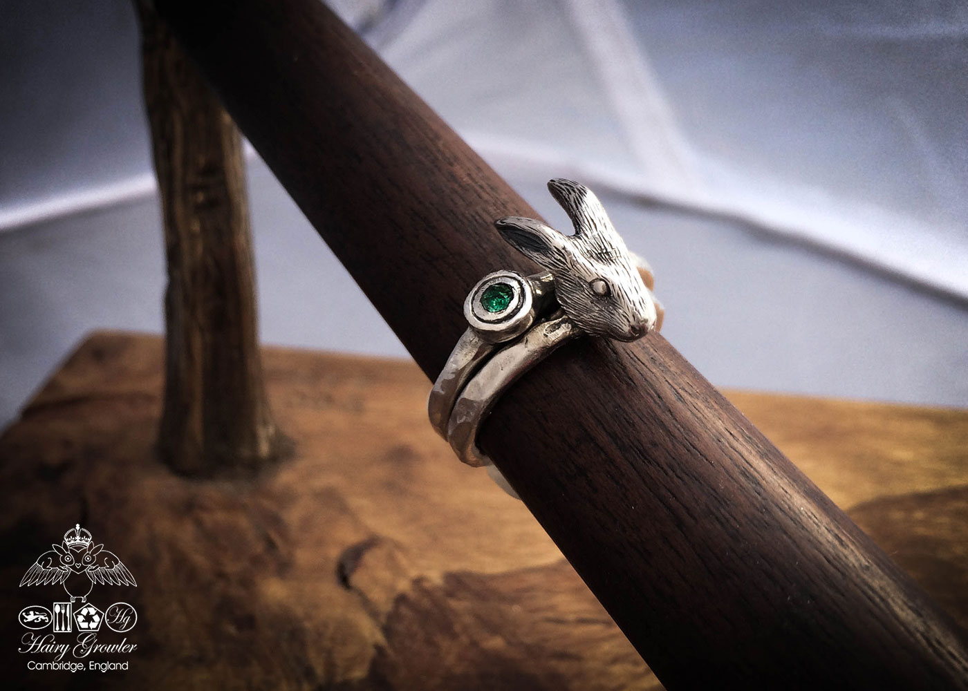 handcrafted and recycled silver hare-y-gr-owl-er hare ring