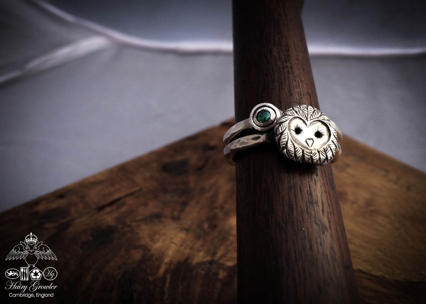 handcrafted and recycled silver hare-y-gr-owl-er Owl ring