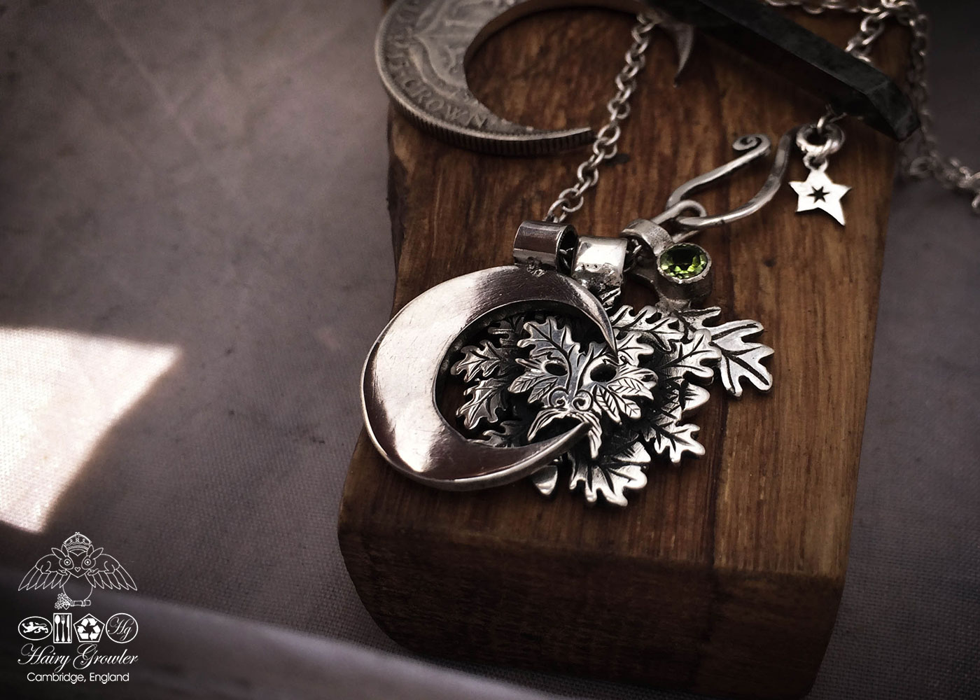 Handcrafted and recycled silver coin greenman pendant necklace