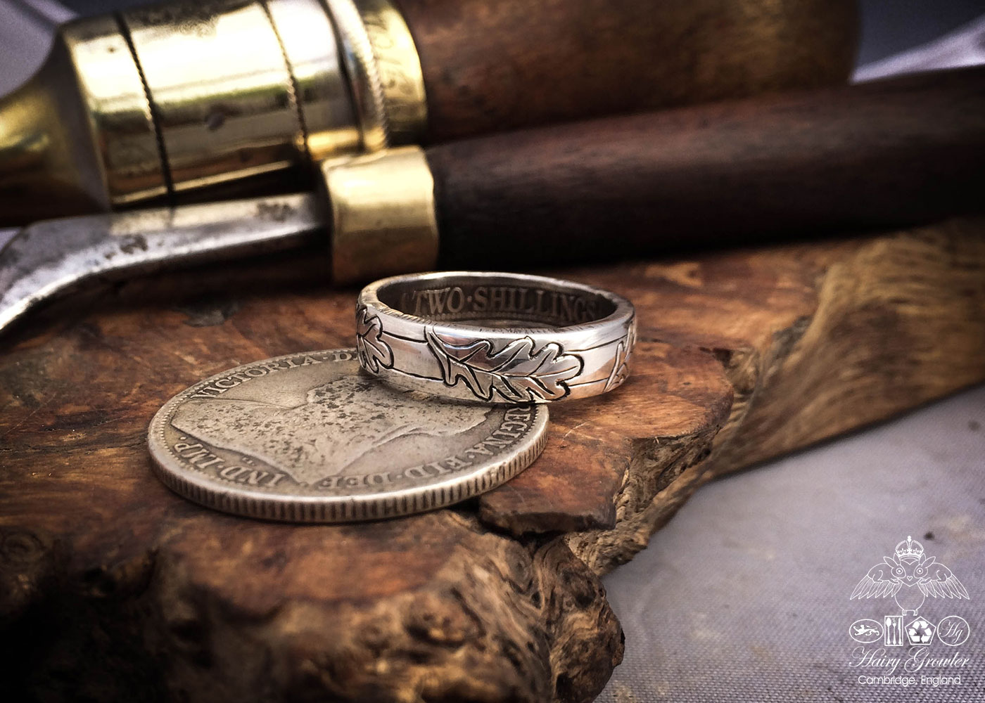 Handcrafted and recycled silver coin oak leaf wedding rings