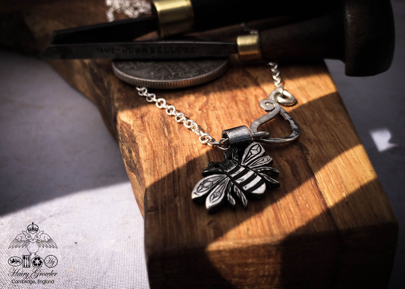 Ethical Bee jewellery handcrafted silver bee charm for a tree sculpture, necklace or bracelet