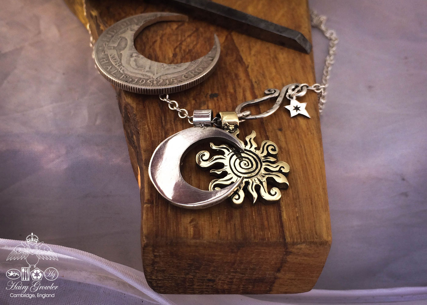 handmade bronze sun charm for a tree sculpture, necklace or bracelet