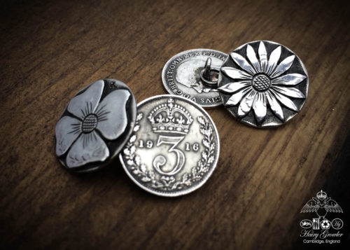 Handcrafted and recycled lucky threepence coin flower cufflinks