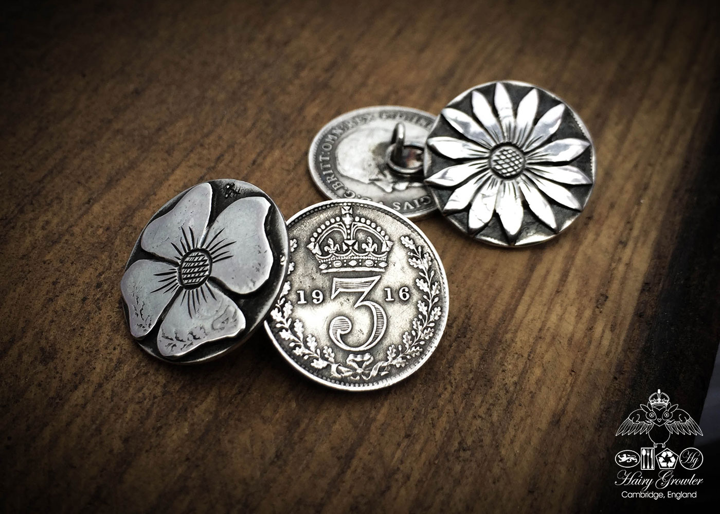 Handmade and repurposed lucky threepence coin flower cufflinks
