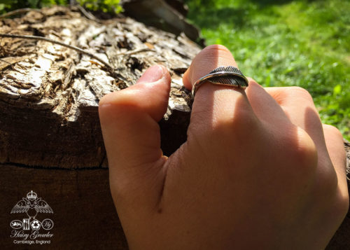 handcrafted and recycled silver feather ring