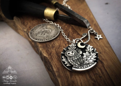 Owl coin jewellery - sitting in the moonlight owl necklace handcrafted and recycled from three silver shilling coins all over 100 years old