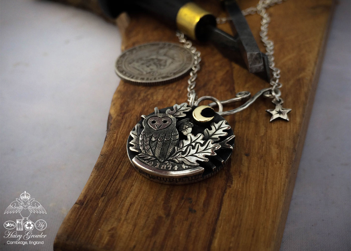 sitting in the moonlight owl necklace handcrafted and recycled from three silver shilling coins all over 100 years old