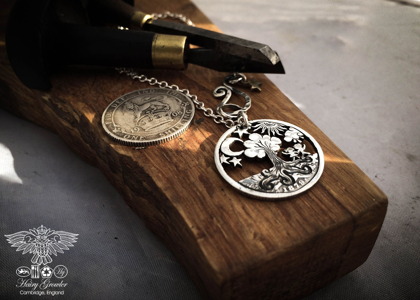 Handcrafted and recycled Geocentric flat earth earth view silver shilling coin pendant necklace