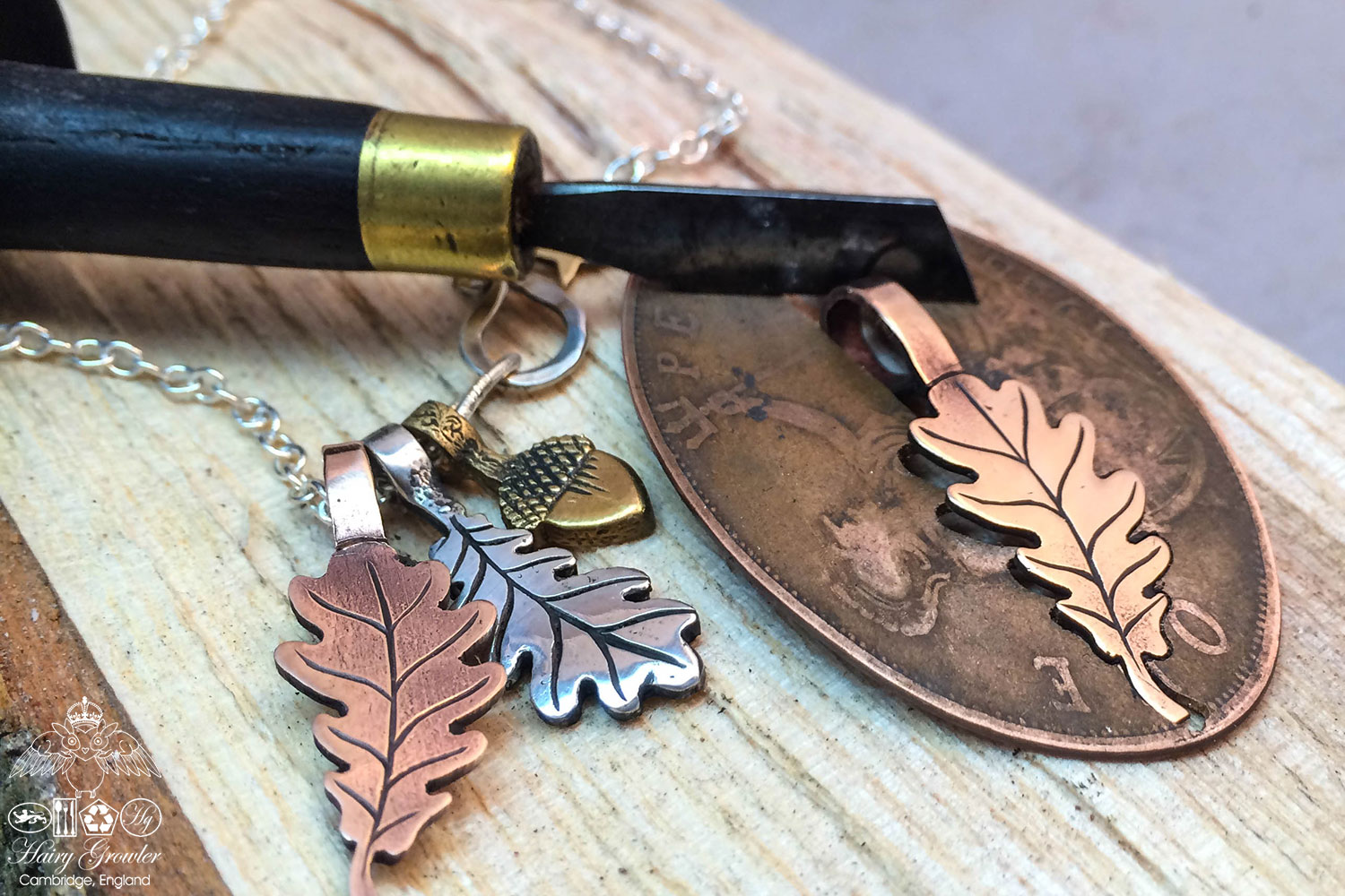 handcrafted copper4 oak leaf charm for a tree sculpture, necklace or bracelet