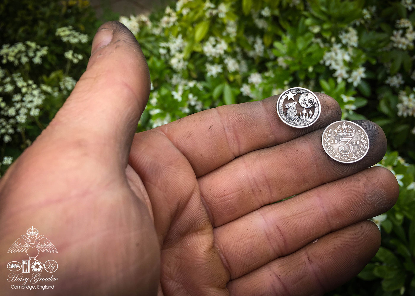 handmade, upcycled, contemporary and original silver coin moon gazing hare necklace pendant
